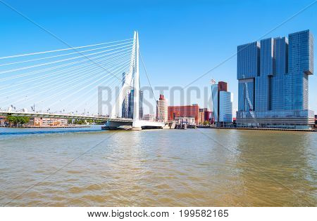 Rotterdam The Nederlands - July 18 2016:The Erasmus bridge on the Maas river with the De Rotterdam towers in the background