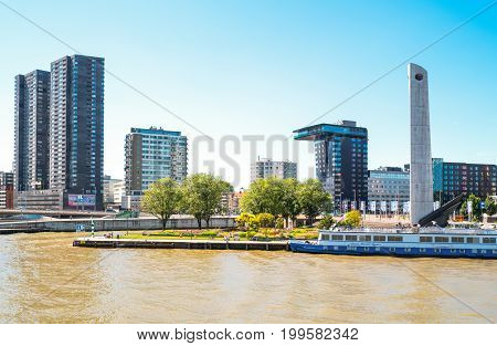 Rotterdam The Nederlands - July 18 2016: Modern architectures on the Maas river bank