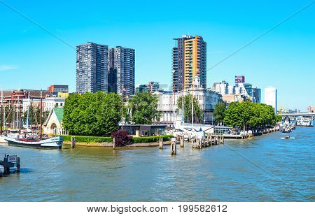 Rotterdam The Nederlands - July 18 2016: The Veerhaven History Harbor seen from a boat crossing the Maas river