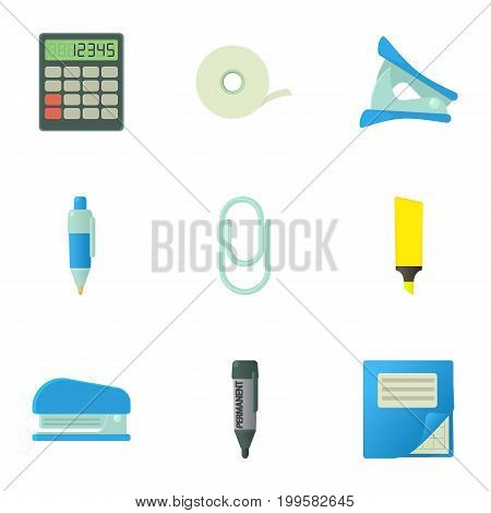 Accountant things icons set. Cartoon set of 9 accountant things vector icons for web isolated on white background