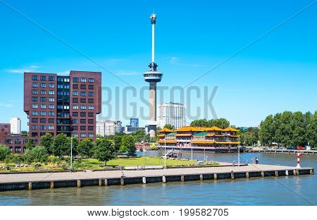 Rotterdam The Nederlands - July 18 2016: The Euromast Observation Tower seen from a boat crossing the Maas river