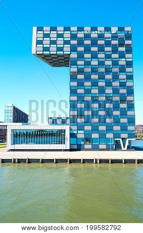 Rotterdam The Nederlands - July 18 2016: The modern architectures of the Shipping and Transport College on the Maas river bank