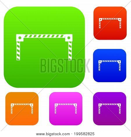 Barrier set icon in different colors isolated vector illustration. Premium collection