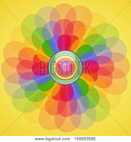 Abstract transparent colorful flower. Illustration 10 version.