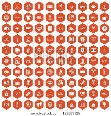 100 sport journalist icons set in orange hexagon isolated vector illustration