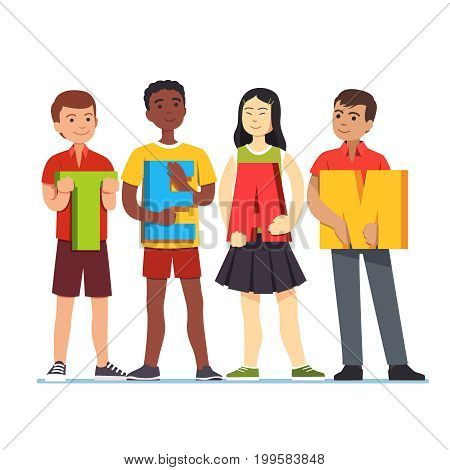 Multiethnic young students standing together holding capital letters forming word team. Teamwork togetherness project collaboration concept. Flat style vector illustration isolated on white background