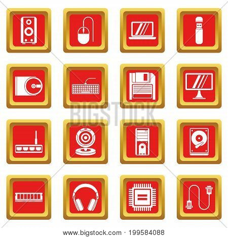 Computer icons set in red color isolated vector illustration for web and any design
