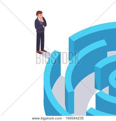 Businessman standing in front of the entrance to labyrinth and thinking or doubting before making a decision. Business contemplation concept. Flat style modern vector illustration.