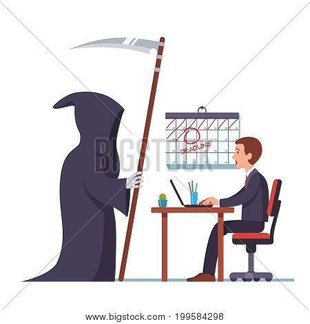 Business project deadline concept. Grim reaper came to frightened open mouthed businessman sitting at desk working on laptop computer. Due date time is up. Flat style vector isolated illustration.