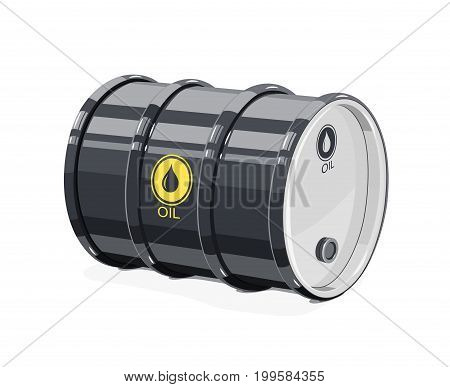 Black metal barrel for oil. Equipment transportation fuel. Isolated white background. Vector illustration.