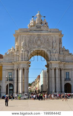 Triumphal Arch In The Commerce Square, Lisbon, Portugal