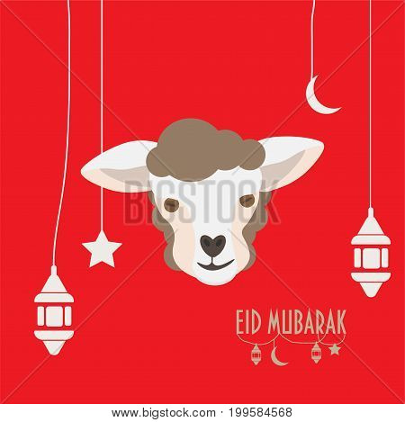 Vector illustration for muslim community: greeting card for eid al-Adha or Sacrifice Feast, also known as Qurbani, Greater Eid, Eid al-Kabir or Kurban Bayrami. Sheep or Lamb Head or Face.