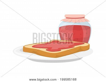 Isolated breakfast jam with bread slice on white background.