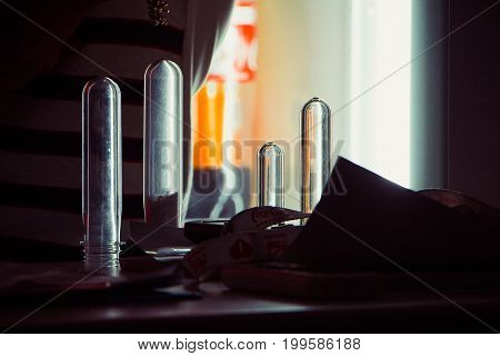 Glass test tubes in the dark Laboratory research