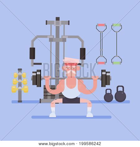 The old man goes in for sports. Old people activity concept