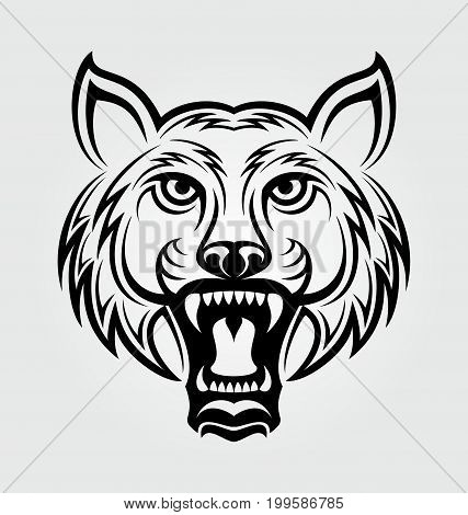 Angry tiger face tribal design vector illustration