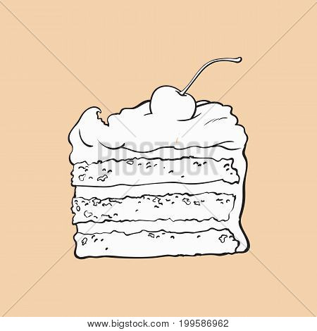 black and white hand drawn piece of classic layered cake with vanilla cream and cherry decoration, sketch style vector illustration isolated on color background. Realistic hand drawing of sweet cake