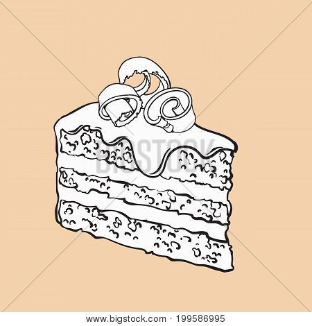black and white hand drawn piece of layered chocolate cake with icing and shavings, sketch style vector illustration isolated on background. Realistic hand drawing of piece, slice of chocolate cake