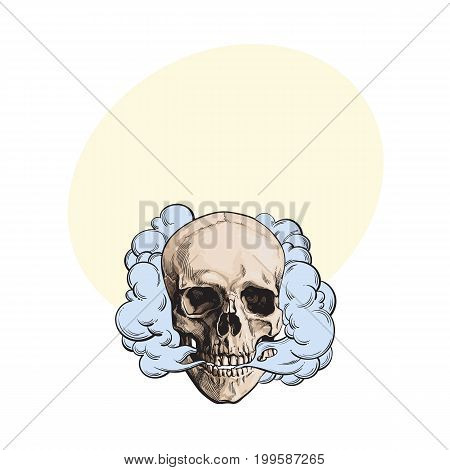 Smoke coming out of fleshless skull, death, mortal habit concept, sketch style vector illustration with space for text. Hand drawn smoking skull emitting clouds of smoke