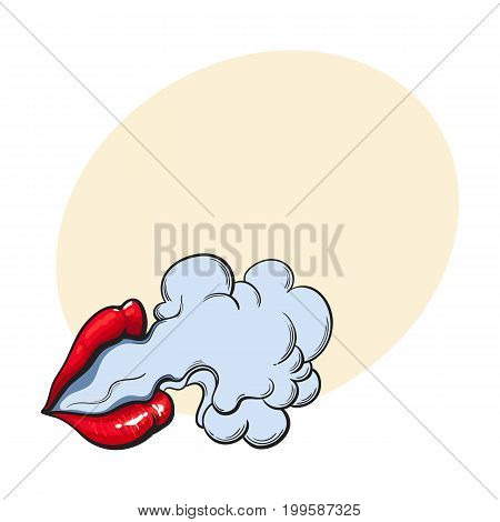 Beautiful female lips with red shiny lipstick emitting smoke cloud, sketch style vector illustration with space for text.