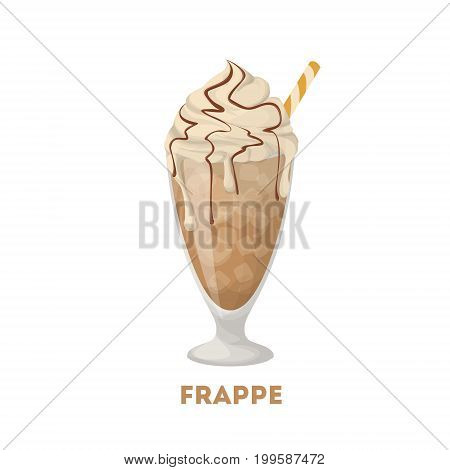 Isolated frappe coffee. Glass with cream and chocolate on white background.