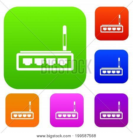 Router set icon in different colors isolated vector illustration. Premium collection