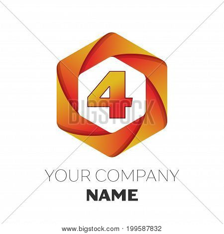 Realistic number four vector logo symbol in the colorful hexagonal on white background. Vector template for your design