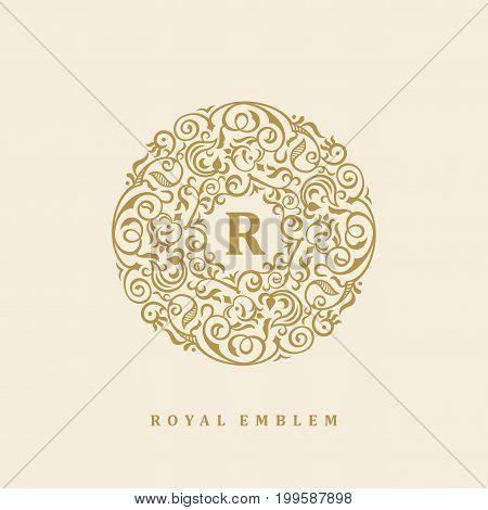 Round brown calligraphic royal emblem. Vector floral symbol for cafe, restaurant, shop, print, stamp. Logo design template for coffee, tea, business card. Monogram letter R