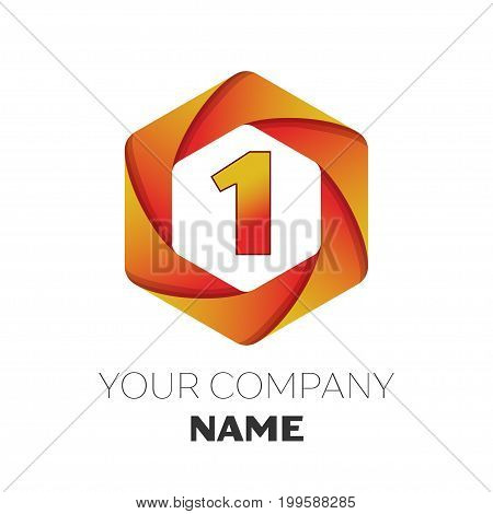 Realistic number one vector logo symbol in the colorful hexagonal on white background. Vector template for your design