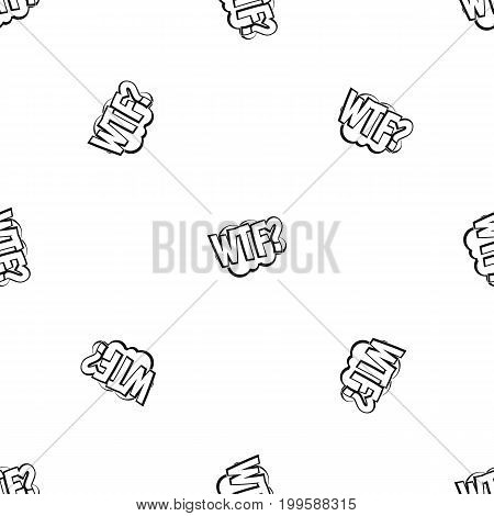 WTF, comic book bubble text pattern repeat seamless in black color for any design. Vector geometric illustration
