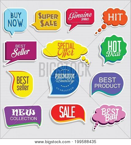 Promo Sale Stickers And Tags Collection Modern Design 3.eps