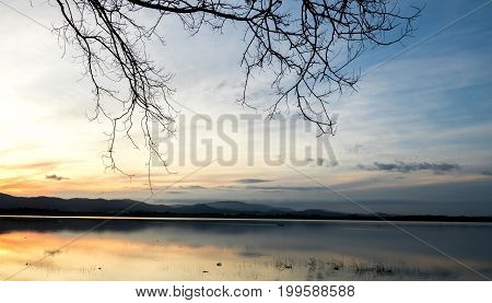 Landscape of reservoir and mountains with sunny and blue clouds in the morning