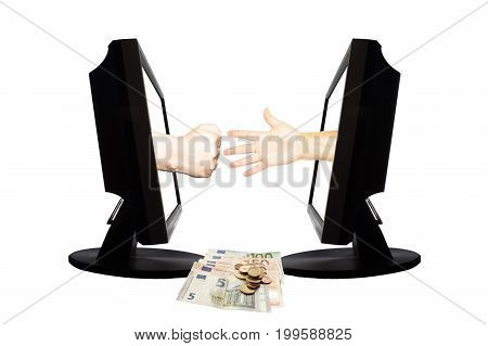 Virtual game by internet stone - scissors - paper thwo hands represent stone and paper from displays on white background. Down are money.