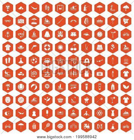 100 summer icons set in orange hexagon isolated vector illustration