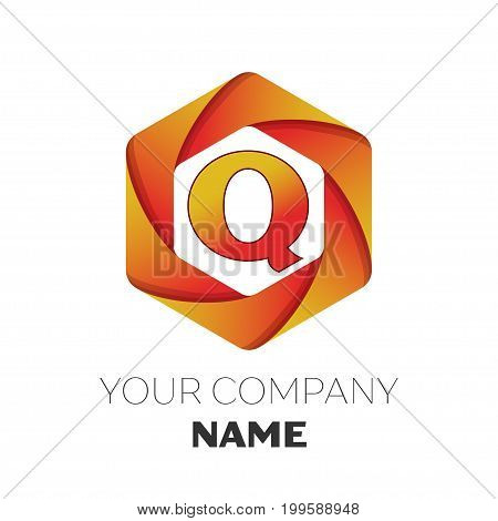 Realistic Letter Q vector logo symbol in the colorful hexagonal on white background. Vector template for your design