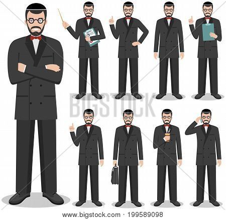 Detailed illustration of jewish businessman standing in different positions in flat style on white background.