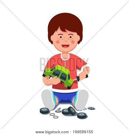 Little boy mechanic repairing assembling or disassembling wind up toy car using screwdriver. School kid sitting learning auto mechanism. Flat style vector illustration isolated on white background.
