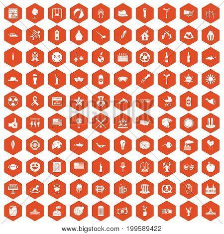 100 summer holidays icons set in orange hexagon isolated vector illustration
