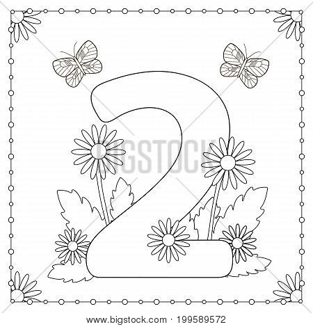 Numeral two with flowers leaves and butterflies. Coloring page. Vector illustration.