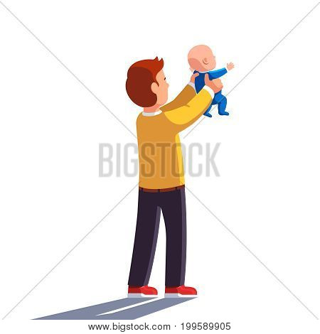 Dad holding baby son in both hands and raising him high. Father lifting new heir newborn child up in the air showing him the world. Flat style vector illustration isolated on white background.