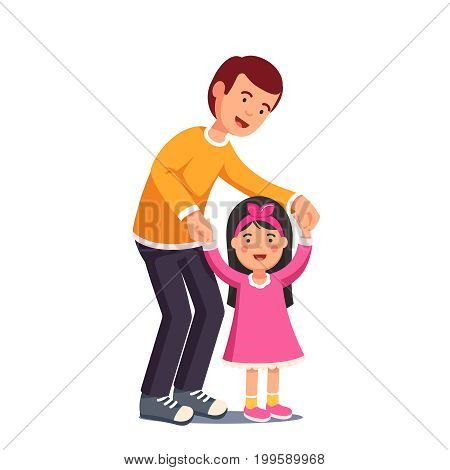 Happy dad walking with his little daughter holding her both hands. Cute girl in pink dress learning to walk. Caring father helping child. Flat style vector illustration isolated on white background.