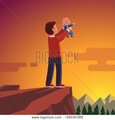 Father standing on the mountain peak or rock edge holding newborn baby son in both hands raising him high. Father lifting new heir child up in the air showing him to world. Flat vector illustration.