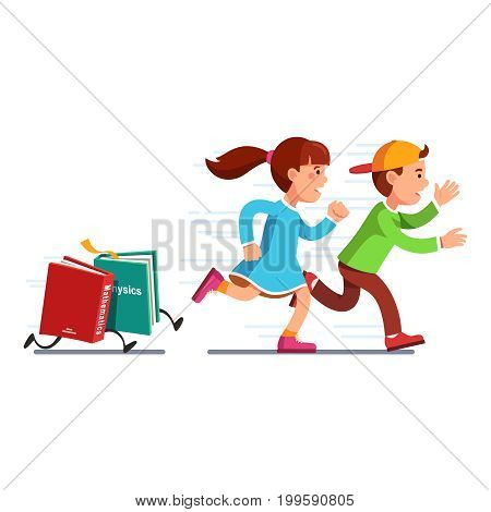 Scared school students running from books math, physics full of knowledge. Boy, girl escaping science classes. Homework textbooks chasing pupils. Education stress. Flat vector isolated illustration.