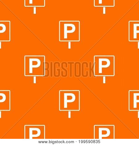 Parking sign pattern repeat seamless in orange color for any design. Vector geometric illustration