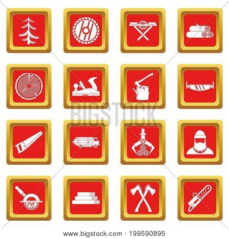 Timber industry icons set in red color isolated vector illustration for web and any design