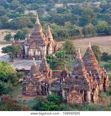 Ancient temples in Bagan Archaeological Zone, Myanmar. Bagan is an ancient city in central Myanmar, southwest of Mandalay. From the 9th to 13th centuries, the city was the capital of the Pagan Kingdom