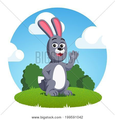 Smiling grey rabbit with big ears waving hand. Cartoon bunny animal sitting outside on the green grass. Flat style vector illustration isolated on white background.