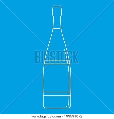 Glass bottle icon blue outline style isolated vector illustration. Thin line sign