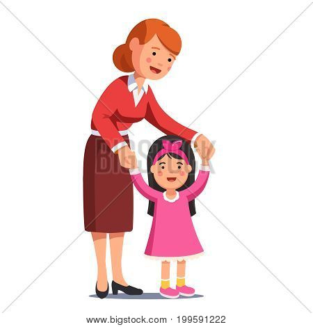 Happy mum walking with little daughter holding her hands. Cute smiling girl in pink dress learning to walk. Caring mother or babysitter woman helping child. Flat vector illustration isolated on white.