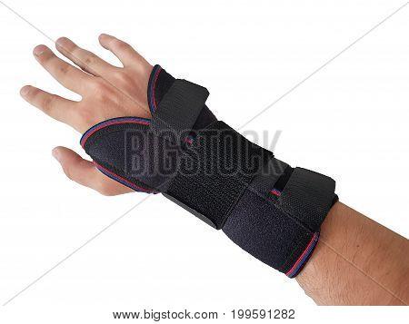 Black Wrist Splint For Right Hand Male Model.